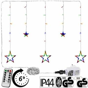 VOLTRONIC® 5 Sterne (61 LED) / 12 Sterne (150 LED) Lichtervorhang Lichterkette, GS geprüft, innen + außen (IP44), Timer, 8 Programme, Fernbedienung, warm-White/kaltweiß/bunt/warmweiß+kaltweiß - 1