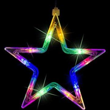 VOLTRONIC® 5 Sterne (61 LED) / 12 Sterne (150 LED) Lichtervorhang Lichterkette, GS geprüft, innen + außen (IP44), Timer, 8 Programme, Fernbedienung, warm-White/kaltweiß/bunt/warmweiß+kaltweiß - 5