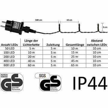 VOLTRONIC® LED Lichterkette für innen und außen, Größenwahl: 50 100 200 400 600 LEDs, warmweiß/kaltweiß/bunt/warmweiß+kaltweiß, GS geprüft, IP44, optional mit 8 Leuchtmodi/Fernbedienung/Timer - 4