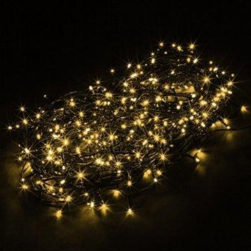 VOLTRONIC® LED Lichterkette für innen und außen, Größenwahl: 50 100 200 400 600 LEDs, warmweiß/kaltweiß/bunt/warmweiß+kaltweiß, GS geprüft, IP44, optional mit 8 Leuchtmodi/Fernbedienung/Timer - 3