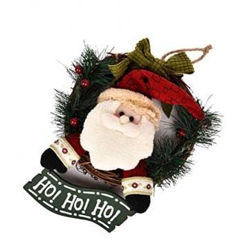 VOSAREA Weihnachtentürkranz mit Weihnachtsmannfiguren Ho Ho Ho Bowknot Weihnachtsverzierung Dekorationen 29cm - 2
