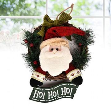 VOSAREA Weihnachtentürkranz mit Weihnachtsmannfiguren Ho Ho Ho Bowknot Weihnachtsverzierung Dekorationen 29cm - 3