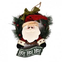 VOSAREA Weihnachtentürkranz mit Weihnachtsmannfiguren Ho Ho Ho Bowknot Weihnachtsverzierung Dekorationen 29cm - 1
