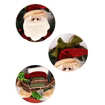 VOSAREA Weihnachtentürkranz mit Weihnachtsmannfiguren Ho Ho Ho Bowknot Weihnachtsverzierung Dekorationen 29cm - 4