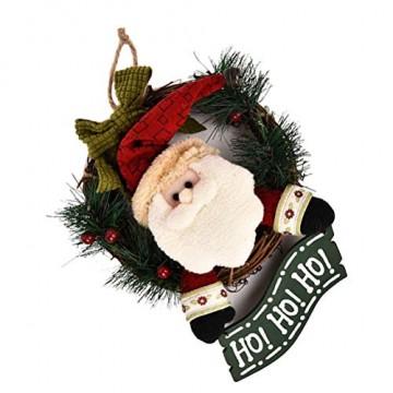 VOSAREA Weihnachtentürkranz mit Weihnachtsmannfiguren Ho Ho Ho Bowknot Weihnachtsverzierung Dekorationen 29cm - 5