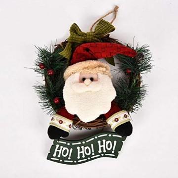 VOSAREA Weihnachtentürkranz mit Weihnachtsmannfiguren Ho Ho Ho Bowknot Weihnachtsverzierung Dekorationen 29cm - 6