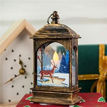 Wankd Weihnachtsbeleuchtung - mit hell flackernder LED Kerze - Tisch- und Hängelampe - in- und outdoor - Weihnachtsdeko - Batterie Laterne - Metall mit Glasfenstern - wetterfest - 7*3.8*13.5CM (3PCS) - 2