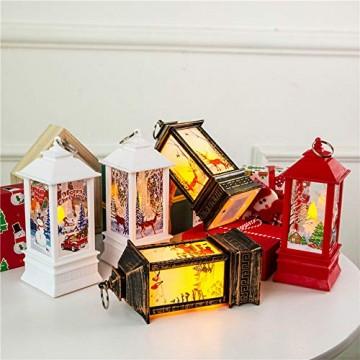 Wankd Weihnachtsbeleuchtung - mit hell flackernder LED Kerze - Tisch- und Hängelampe - in- und outdoor - Weihnachtsdeko - Batterie Laterne - Metall mit Glasfenstern - wetterfest - 7*3.8*13.5CM (3PCS) - 3