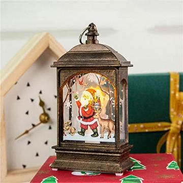 Wankd Weihnachtsbeleuchtung - mit hell flackernder LED Kerze - Tisch- und Hängelampe - in- und outdoor - Weihnachtsdeko - Batterie Laterne - Metall mit Glasfenstern - wetterfest - 7*3.8*13.5CM (3PCS) - 4