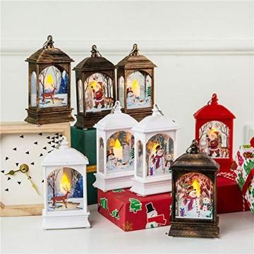 Wankd Weihnachtsbeleuchtung - mit hell flackernder LED Kerze - Tisch- und Hängelampe - in- und outdoor - Weihnachtsdeko - Batterie Laterne - Metall mit Glasfenstern - wetterfest - 7*3.8*13.5CM (3PCS) - 6