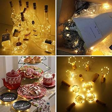 WEARXI 12 Pack LED Flaschenlicht Deko - 2M 20 LED Lichterkette Batterie, Led Korken mit LED Lichterkette für Flasche, Tischdeko Geburtstag, Weihnachten, Hochzeit, Valentinstag, Dekoration Wohnung - 3