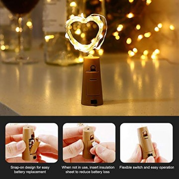 WEARXI 12 Pack LED Flaschenlicht Deko - 2M 20 LED Lichterkette Batterie, Led Korken mit LED Lichterkette für Flasche, Tischdeko Geburtstag, Weihnachten, Hochzeit, Valentinstag, Dekoration Wohnung - 4