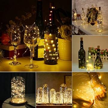 WEARXI 12 Pack LED Flaschenlicht Deko - 2M 20 LED Lichterkette Batterie, Led Korken mit LED Lichterkette für Flasche, Tischdeko Geburtstag, Weihnachten, Hochzeit, Valentinstag, Dekoration Wohnung - 6