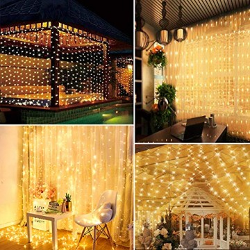 WEARXI Lichtervorhang Deko - 3M 300 LEDs Lichterkette Lichtvorhang, 8 Modi LED Vorhang Lichterketten für Zimmer Deko Schlafzimmer Deko, Weihnachtsdeko, Outdoor Deko Balkon (Warmweiß) - 4