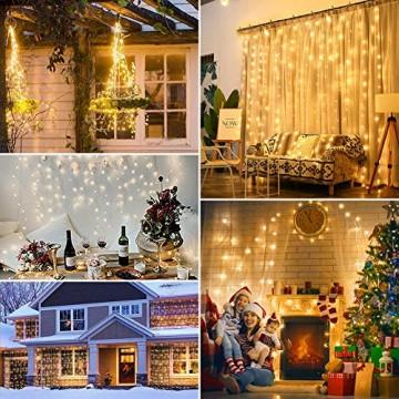 WEARXI Lichtervorhang Deko - 3M 300 LEDs Lichterkette Lichtvorhang, 8 Modi LED Vorhang Lichterketten für Zimmer Deko Schlafzimmer Deko, Weihnachtsdeko, Outdoor Deko Balkon (Warmweiß) - 7