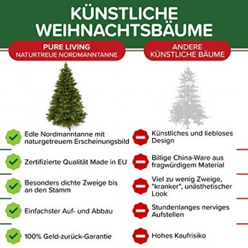 Weihnachtsbaum künstlich 180 cm – Edle Nordmanntanne mit Weihnachtsbaumständer – Künstlicher Premium Tannenbaum mit besonders dichten Zweigen – Exklusives Markenprodukt - Naturgetreu, Made in EU - 2