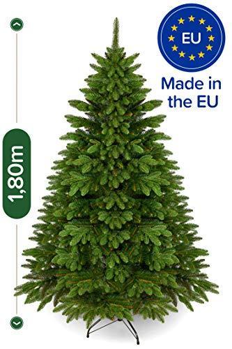 Weihnachtsbaum künstlich 180 cm – Edle Nordmanntanne mit Weihnachtsbaumständer – Künstlicher Premium Tannenbaum mit besonders dichten Zweigen – Exklusives Markenprodukt - Naturgetreu, Made in EU - 1
