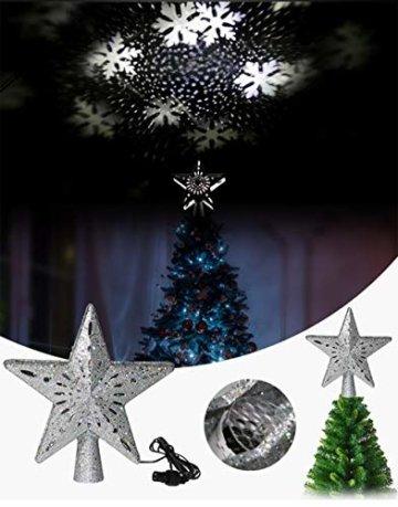 Weihnachtsbaumprojektionslampe, Weihnachtsbaumsternlampe, LED Weihnachtsbaumspitze Schneeflockenprojektionslampe Baumspitze Sternprojektionslampe-Silber fünfzackiger Stern_British regulierend - 5