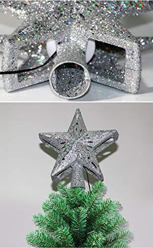 Weihnachtsbaumprojektionslampe, Weihnachtsbaumsternlampe, LED Weihnachtsbaumspitze Schneeflockenprojektionslampe Baumspitze Sternprojektionslampe-Silber fünfzackiger Stern_British regulierend - 6