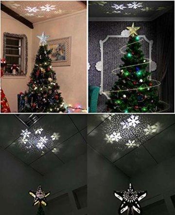 Weihnachtsbaumprojektionslampe, Weihnachtsbaumsternlampe, LED Weihnachtsbaumspitze Schneeflockenprojektionslampe Baumspitze Sternprojektionslampe-Silber fünfzackiger Stern_British regulierend - 7