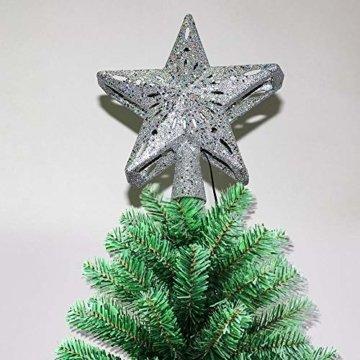 Weihnachtsbaumprojektionslampe, Weihnachtsbaumsternlampe, LED Weihnachtsbaumspitze Schneeflockenprojektionslampe Baumspitze Sternprojektionslampe-Silber fünfzackiger Stern_British regulierend - 8