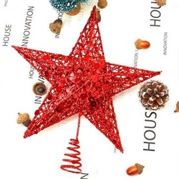 Weihnachtsbaumspitze aus Metall, Stern, glitzernd, zu Allerheiligen und Weihnachten, Dekoration für daheim, 20,3 cm, rot, 20 cm - 2