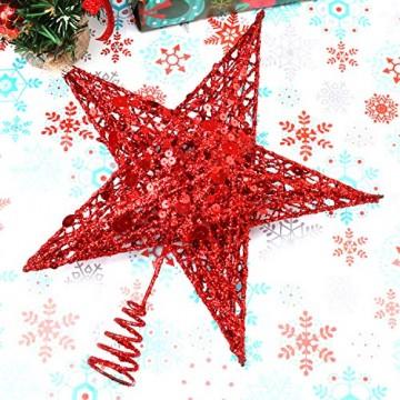 Weihnachtsbaumspitze aus Metall, Stern, glitzernd, zu Allerheiligen und Weihnachten, Dekoration für daheim, 20,3 cm, rot, 20 cm - 3