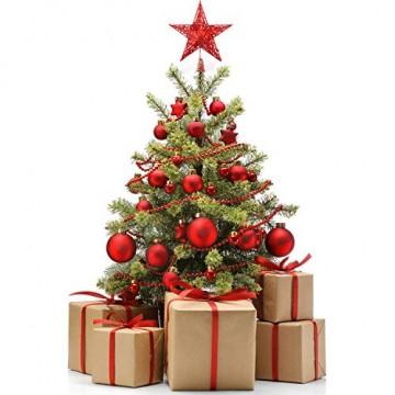 Weihnachtsbaumspitze aus Metall, Stern, glitzernd, zu Allerheiligen und Weihnachten, Dekoration für daheim, 20,3 cm, rot, 20 cm - 4