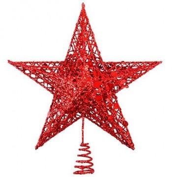 Weihnachtsbaumspitze aus Metall, Stern, glitzernd, zu Allerheiligen und Weihnachten, Dekoration für daheim, 20,3 cm, rot, 20 cm - 1