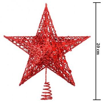 Weihnachtsbaumspitze aus Metall, Stern, glitzernd, zu Allerheiligen und Weihnachten, Dekoration für daheim, 20,3 cm, rot, 20 cm - 5