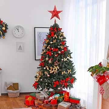 Weihnachtsbaumspitze aus Metall, Stern, glitzernd, zu Allerheiligen und Weihnachten, Dekoration für daheim, 20,3 cm, rot, 20 cm - 6