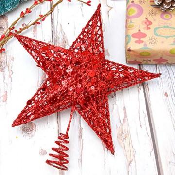 Weihnachtsbaumspitze aus Metall, Stern, glitzernd, zu Allerheiligen und Weihnachten, Dekoration für daheim, 20,3 cm, rot, 20 cm - 7