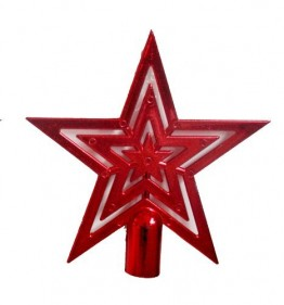 Weihnachtsbaumspitze | Christbaumspitze | Baumspitze | Stern | Farbe: rot - 1