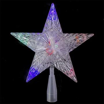 Weihnachtsbaumspitze Stern, LED leuchten Weihnachtsbaum Topper Star Christbaumspitze Kunststoff 22x22cm mit 31 LED mehrfarbig Für Weihnachtsdekor - 3