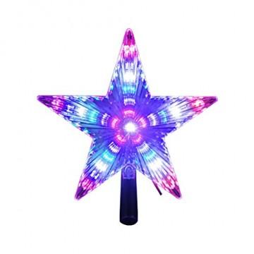 Weihnachtsbaumspitze Stern, LED leuchten Weihnachtsbaum Topper Star Christbaumspitze Kunststoff 22x22cm mit 31 LED mehrfarbig Für Weihnachtsdekor - 4