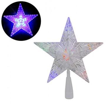 Weihnachtsbaumspitze Stern, LED leuchten Weihnachtsbaum Topper Star Christbaumspitze Kunststoff 22x22cm mit 31 LED mehrfarbig Für Weihnachtsdekor - 1