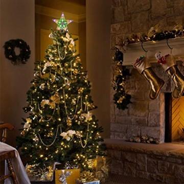 Weihnachtsbaumspitze Stern, LED leuchten Weihnachtsbaum Topper Star Christbaumspitze Kunststoff 22x22cm mit 31 LED mehrfarbig Für Weihnachtsdekor - 5