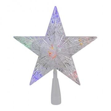 Weihnachtsbaumspitze Stern, LED leuchten Weihnachtsbaum Topper Star Christbaumspitze Kunststoff 22x22cm mit 31 LED mehrfarbig Für Weihnachtsdekor - 7