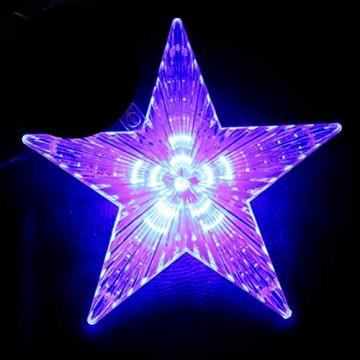 Weihnachtsbaumspitze Stern, LED leuchten Weihnachtsbaum Topper Star Christbaumspitze Kunststoff 22x22cm mit 31 LED mehrfarbig Für Weihnachtsdekor - 8