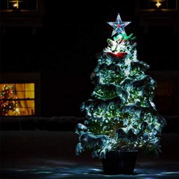 Weihnachtsbaumspitze Stern, LED leuchten Weihnachtsbaum Topper Star Christbaumspitze Kunststoff 22x22cm mit 31 LED mehrfarbig Für Weihnachtsdekor - 9