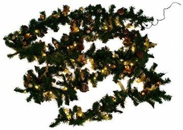 Weihnachtsdeko Tannen- Girlande mit 80 LED und Deko, gold - 3