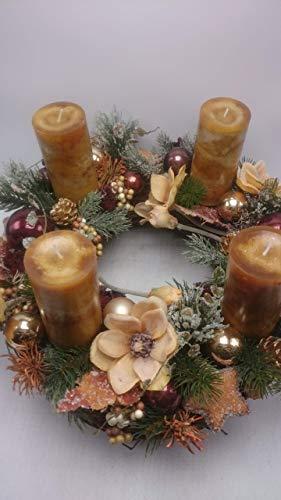 Weihnachtsgesteck Weihnachtskranz Adventskranz Adventsgesteck Magnolien Beeren XXL - 2