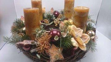 Weihnachtsgesteck Weihnachtskranz Adventskranz Adventsgesteck Magnolien Beeren XXL - 3