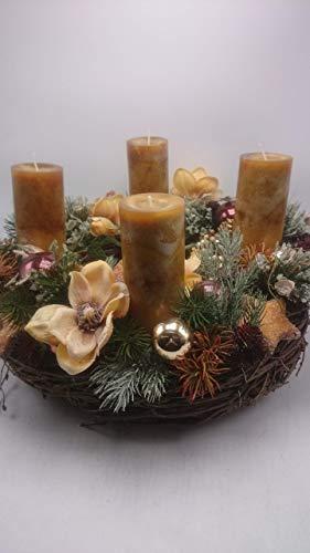 Weihnachtsgesteck Weihnachtskranz Adventskranz Adventsgesteck Magnolien Beeren XXL - 4