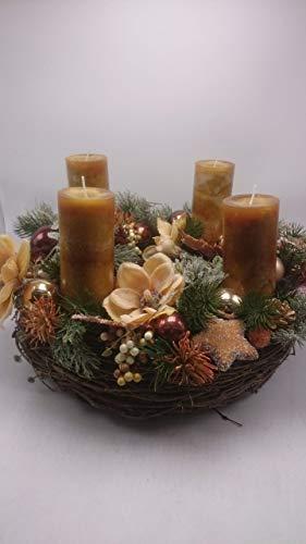 Weihnachtsgesteck Weihnachtskranz Adventskranz Adventsgesteck Magnolien Beeren XXL - 1