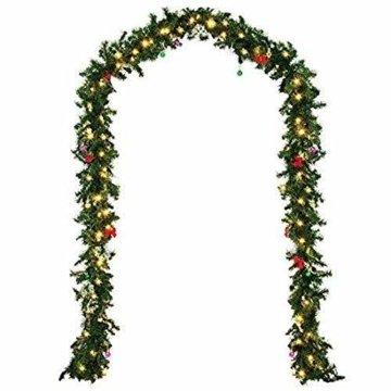 Weihnachtsgirlande künstlich mit LED Lichterkette 2.7M 80 Lichter warmweiß Weihnachten Girlande Weihnachtsdeko künstliche Girlande Tannengirlande flexibel einsetzbar im Innen und Aussenbereich (2.7m) - 2