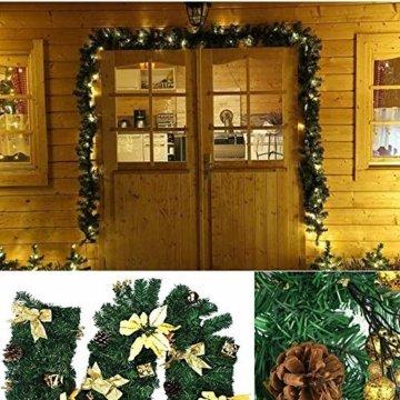 Weihnachtsgirlande künstlich mit LED Lichterkette 2.7M 80 Lichter warmweiß Weihnachten Girlande Weihnachtsdeko künstliche Girlande Tannengirlande flexibel einsetzbar im Innen und Aussenbereich (2.7m) - 3