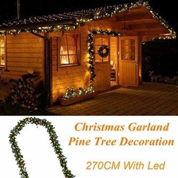 Weihnachtsgirlande künstlich mit LED Lichterkette 2.7M 80 Lichter warmweiß Weihnachten Girlande Weihnachtsdeko künstliche Girlande Tannengirlande flexibel einsetzbar im Innen und Aussenbereich (2.7m) - 6