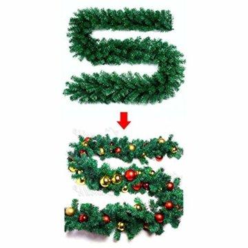 Weihnachtsgirlande künstlich mit LED Lichterkette 2.7M 80 Lichter warmweiß Weihnachten Girlande Weihnachtsdeko künstliche Girlande Tannengirlande flexibel einsetzbar im Innen und Aussenbereich (2.7m) - 7