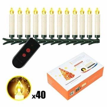 Weihnachtskerzen 10/20/30/40 Sets OZAVO, Christbaumkerzen mit Fernbedienung, kabellose Mini LED Kerzen, Weihnachtsbaumbeleuchtung 2 Lichtmodifikationen, Weihnachten(40 Sets) - 2
